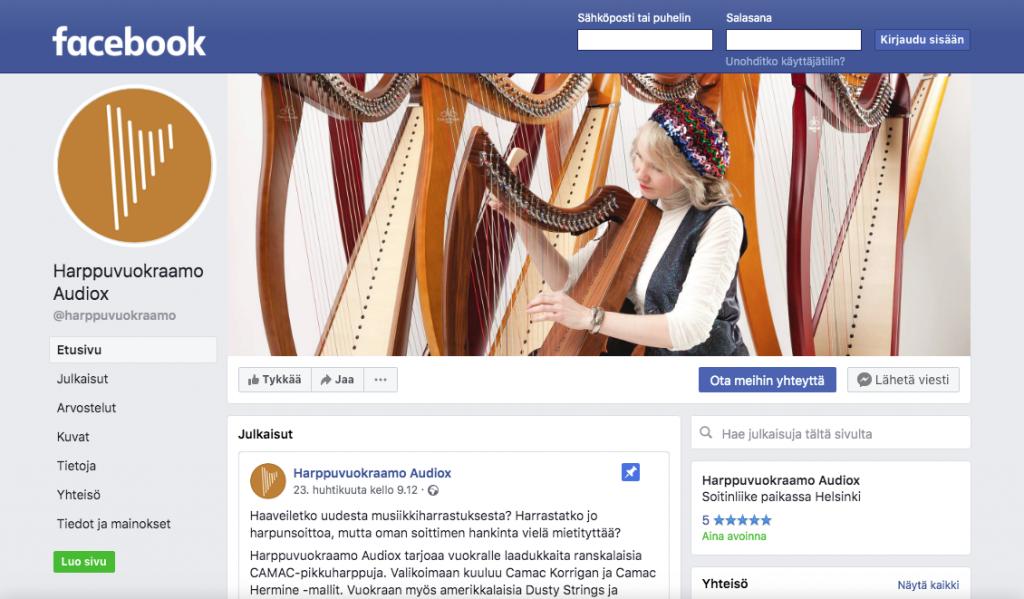 Harppuvuokraamo Audiox nyt myös Facebookissa